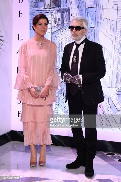 Princess Caroline of Hanover and Karl Lagerfeld arrive at the Rose Ball 2018 To Benefit The Princess Grace Foundation at Sporting MonteCarlo on March...