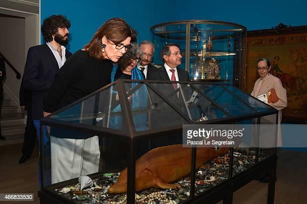 Princess Caroline of Hanover and Paul Masseron are seen during a visit ofan art exhibition at Villa Sauber on March 19 2015 in Monaco Monaco