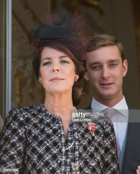 Princess Caroline of Hanover and Pierre Casiraghi attend the National Day Parade from the balcony of Monaco Palace as part of Monaco National Day...