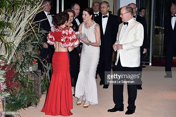 Princess Caroline of Hanover and Prince Albert II of Monaco arrive at The 62nd Rose Ball To Benefit The Princess Grace Foundation at Sporting...