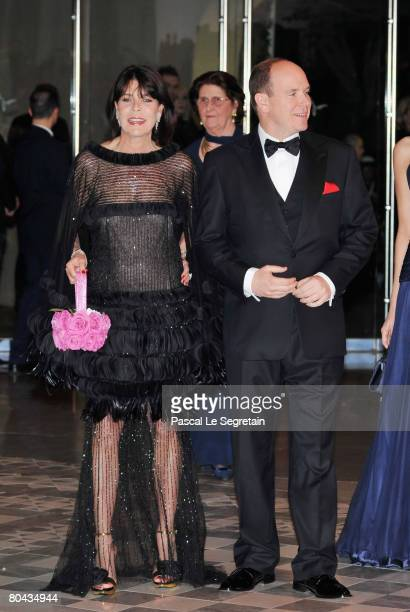 Princess Caroline of Hanover and Prince Albert II of Monaco arrive at the 2008 Monte Carlo Rose Ball 'Movida' held at The Sporting Monaco on March 29...