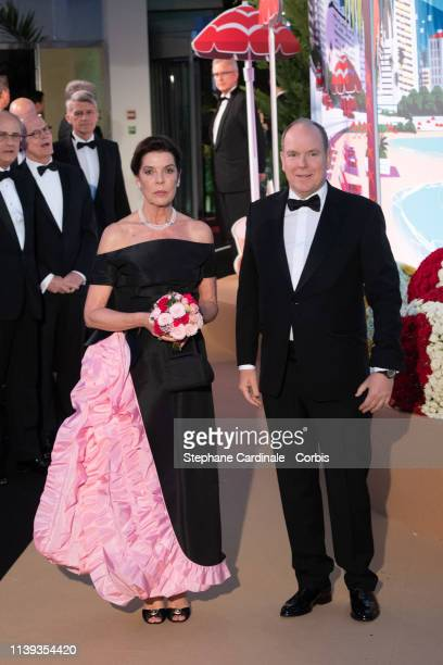 Princess Caroline of Hanover and Prince Albert II of Monaco attend the Rose Ball 2019 To Benefit The Princess Grace Foundation on March 30, 2019 in...