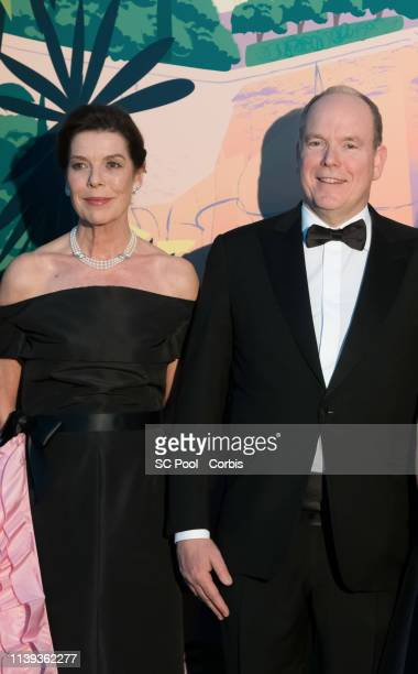 Princess Caroline of Hanover and Prince Albert II of Monaco attend the Rose Ball 2019 To Benefit The Princess Grace Foundation In Monaco on March 30...