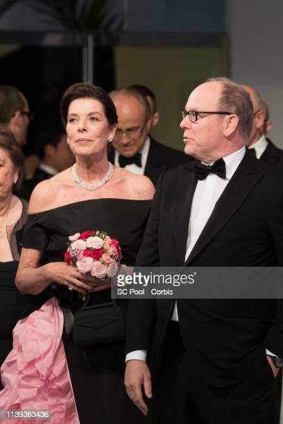 Princess Caroline of Hanover and Prince Albert II of Monaco attend the Rose Ball 2019 To Benefit The Princess Grace Foundation on March 30 2019 in...