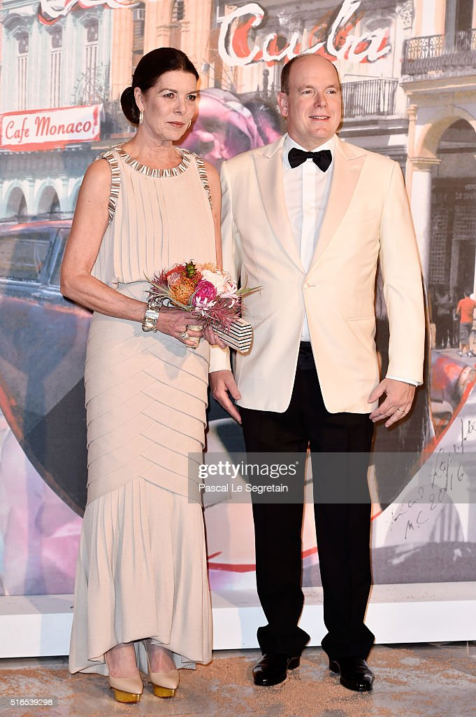 Princess Caroline of Hanover and Prince Albert II of Monaco attend The 62nd Rose Ball To Benefit The Princess Grace Foundation at Sporting Monte-Carlo on March 19, 2016 in Monte-Carlo, Monaco.
