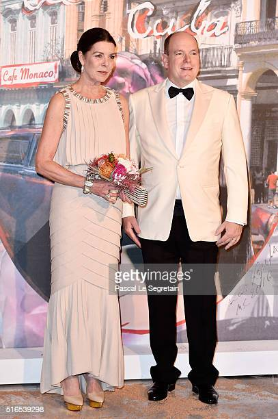 Princess Caroline of Hanover and Prince Albert II of Monaco attend The 62nd Rose Ball To Benefit The Princess Grace Foundation at Sporting MonteCarlo...