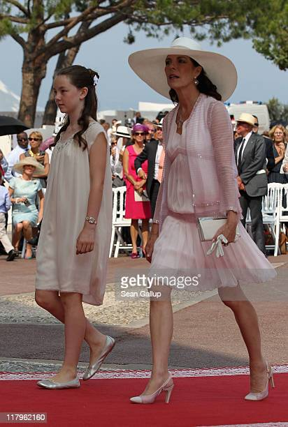 Princess Caroline of Hanover and Princess Alexandra of Hanover attend the religious ceremony of the Royal Wedding of Prince Albert II of Monaco to...