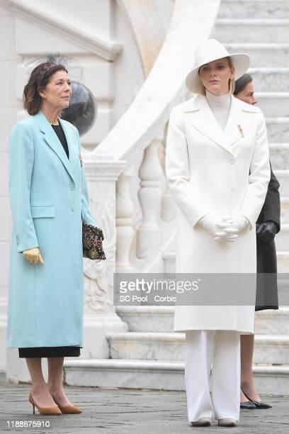 Princess Caroline of Hanover and Princess Charlene of Monaco attend the celebrations marking Monaco's National Day at the Monaco Palace in Monaco, 19...