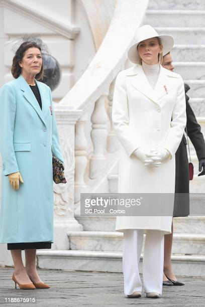 Princess Caroline of Hanover and Princess Charlene of Monaco attend the celebrations marking Monaco's National Day at the Monaco Palace in Monaco, 19...