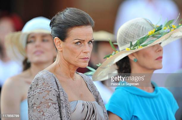 Princess Caroline of Hanover and Princess Stephanie of Monaco attend the civil ceremony of the Royal Wedding of Prince Albert II of Monaco to...