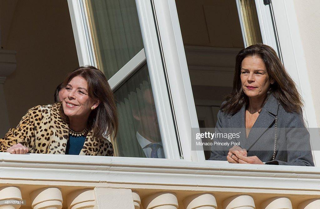 Princess Caroline of Hanover and Princess Stephanie of Monaco attend the official presentation of the Monaco twins on the balcony of the Monaco Palace on January 7, 2015 in Monaco, Monaco.