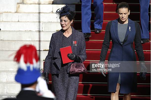 Princess Caroline of Hanover and Princess Stephanie of Monaco leave the cathedral after a mass during the celebrations marking Monaco's National Day...