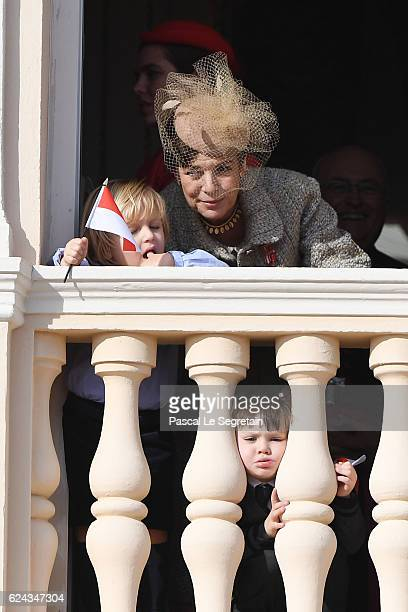 Princess Caroline of Hanover and Raphael Casiraghi greet the crowd from the palace's balcony during the Monaco National Day Celebrations on November...