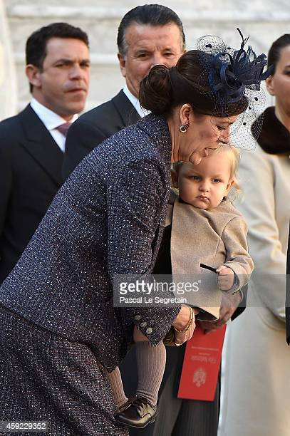 Princess Caroline of Hanover and Sacha Casiraghi attend the Monaco National Day Celebrations in the Monaco Palace Courtyard on November 19 2014 in...