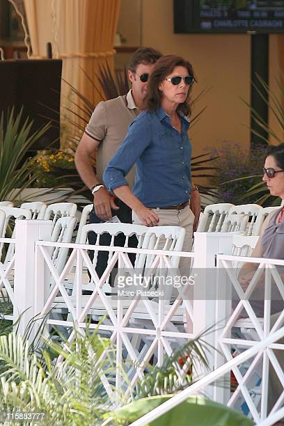 Princess Caroline of Hanover and trainer Thierry Rozier are spotted during the '30th International Cannes Jumping' Global Champion Tour 2011 on June...