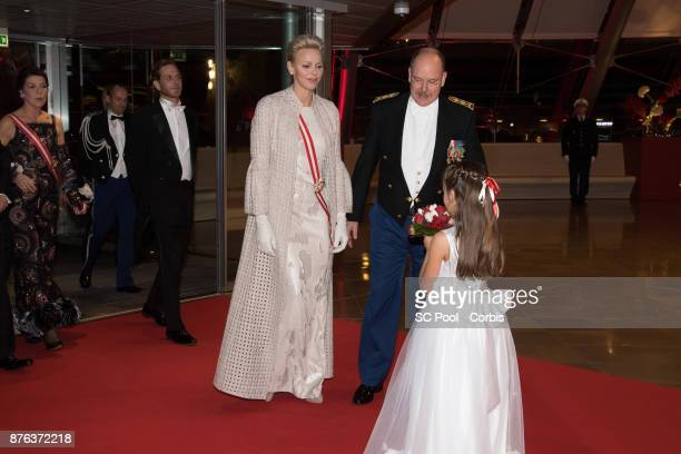 Princess Caroline of Hanover Andrea Casiraghi Princess Charlene of Monaco and Prince Albert II of Monaco arrive at the Monaco National Day Gala in...