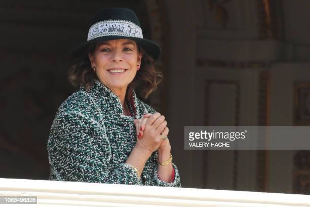 Princess Caroline of Hanover appears on the balcony of the Monaco Palace during the celebrations marking Monaco's National Day on November 19 2018 in...