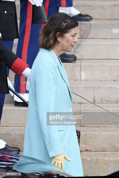 Princess Caroline of Hanover arrives at the Monaco Cathedral during the Monaco National Day Celebrations on November 19 2019 in MonteCarlo Monaco