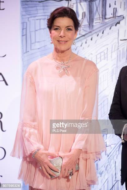 Princess Caroline of Hanover arrives at the Rose Ball 2018 To Benefit The Princess Grace Foundation at Sporting MonteCarlo on March 24 2018 in...