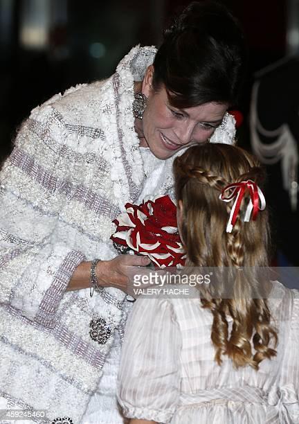Princess Caroline of Hanover arrives for a gala during celebrations marking Monaco's National Day in Monaco on November 19 2014 AFP PHOTO / POOL /...