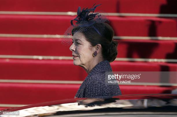 Princess Caroline of Hanover arrives on November 19 2014 at the cathedral for a mass during National Day celebrations in Monaco AFP PHOTO / VALERY...