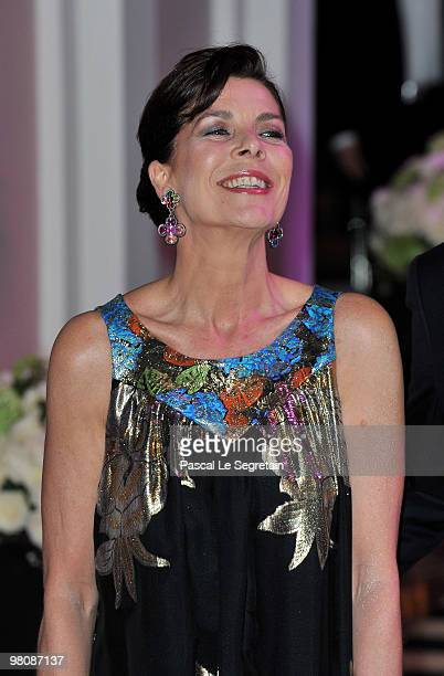Princess Caroline of Hanover arrives to attend the Monte Carlo Morocco Rose Ball 2010 held at the Sporting Monte Carlo on March 27 2010 in Monaco...