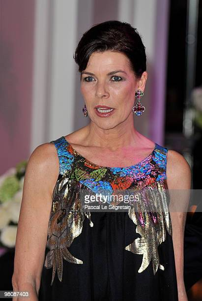 Princess Caroline of Hanover arrives to attend the Monte Carlo Morocco Rose Ball 2010 held at the Sporting Monte Carlo on March 27, 2010 in Monaco,...