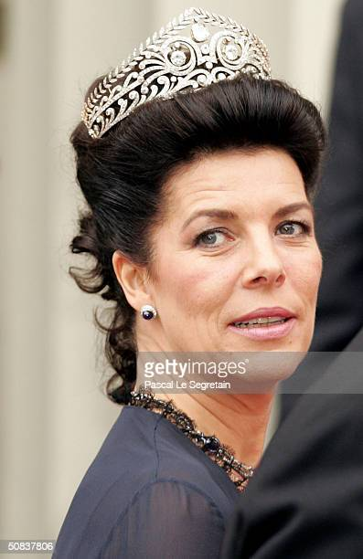 Princess Caroline of Hanover arrives to attend the wedding between Danish Crown Prince Frederik and Miss Mary Elizabeth Donaldson at Copenhagen...
