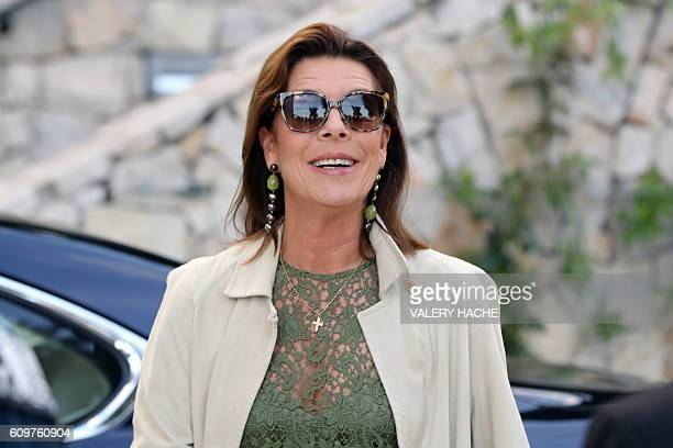 Princess Caroline of Hanover arrives to visit the 'Danse Danse Danse' exhibition at the 'New National Museum of Monaco' in Monaco on September 22...