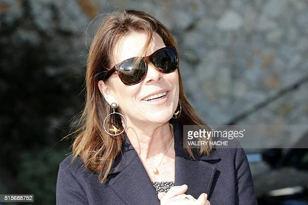 Princess Caroline of Hanover arrives to visit the'Duane Hanson' exhibition at the 'Nouveau Musée National de Monaco' in Monaco on March 15 2016 / AFP...