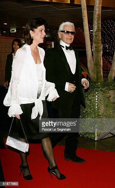 Princess Caroline of Hanover arrives with Karl Lagerfeld to attend the Nijinsky Awards Ceremony at The Monaco Dance Forum on December 18 2004 in...