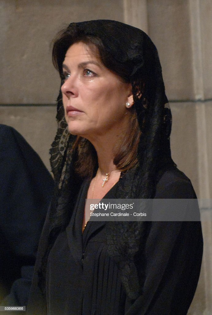 HRH Princess Caroline of Hanover at the mass marking the first anniversary of Prince Rainier III's death.