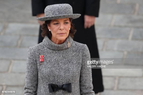 Princess Caroline of Hanover attend the Monaco National Day celebrations at the Monaco Palace on November 19 2017 / AFP PHOTO / POOL / VALERY HACHE