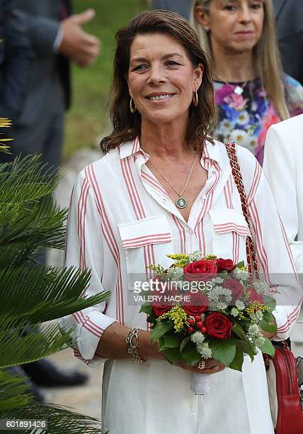 Princess Caroline of Hanover attends a dance show during the traditional Monaco's picnic on September 10 2015 at Monaco / AFP / POOL / VALERY HACHE
