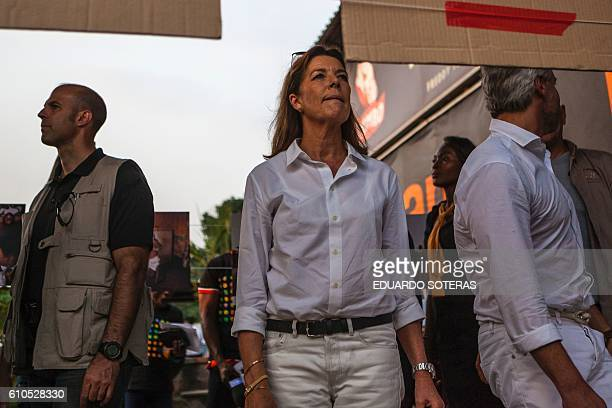 Princess Caroline of Hanover attends in Kinshasa on September 26 2016 during a presentation of the project Capoeira for Peace that introduces...