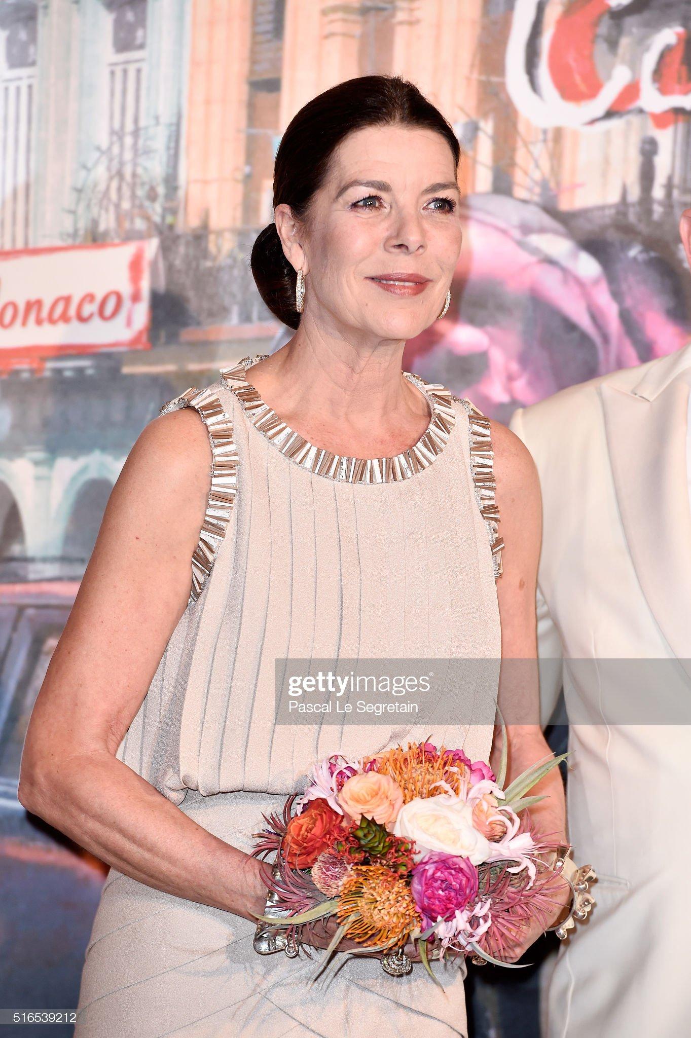 Вечерние наряды Принцессы Каролины. 62nd Rose Ball To Benefit The Princess Grace Foundation In Monte-Carlo : News Photo