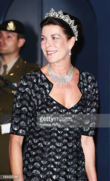 Princess Caroline of Hanover attends the Gala dinner for the wedding of Prince Guillaume Of Luxembourg and Stephanie de Lannoy at the Grandducal...