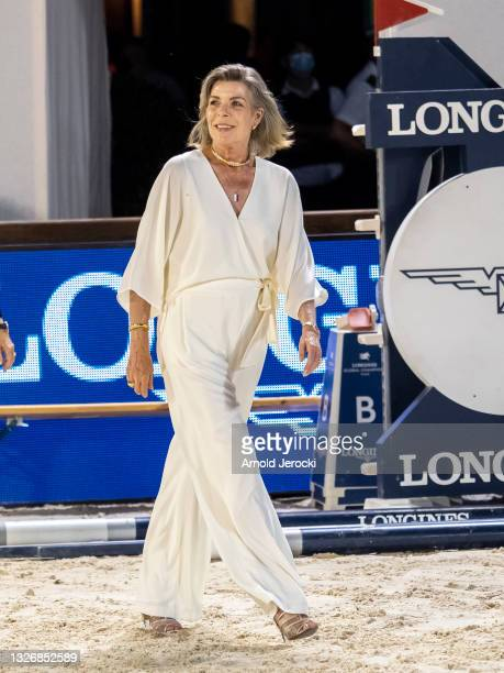Princess Caroline of Hanover attends the Grand Prix du Prince during the 15th international Monte-Carlo Jumping on July 03, 2021 in Monte-Carlo,...