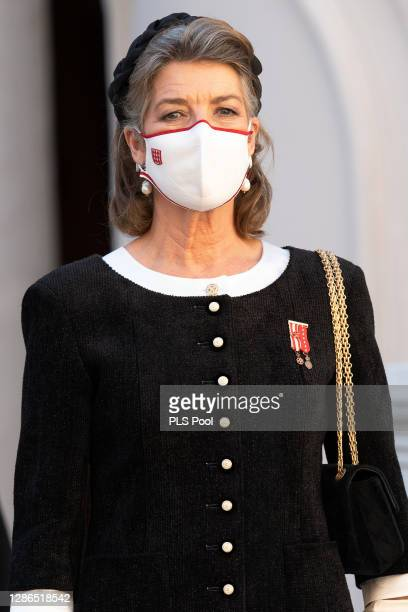 Princess Caroline of Hanover attends the Monaco National day celebrations in the courtyard of the Monaco palace on November 19, 2020 in Monte-Carlo,...