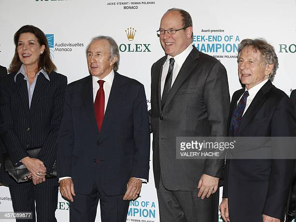 Princess Caroline of Hanover British former Formula One racing driver Jackie Stewart Prince Albert II of Monaco and PolishFrench director Roman...