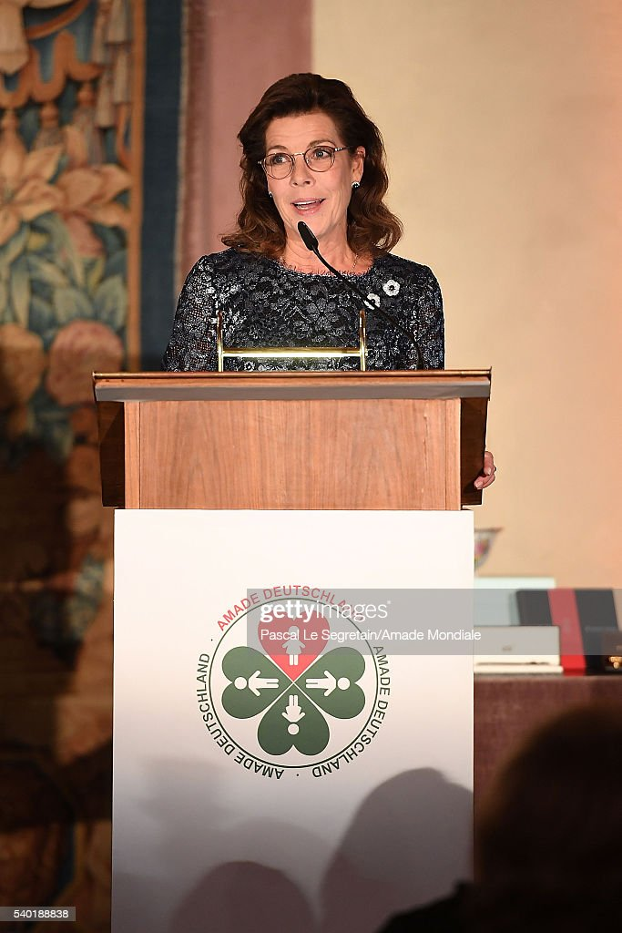 Princess Caroline of Hanover delivers a speech during the AMADE Deutschland Charity dinner on June 14, 2016 in Munich, Germany.