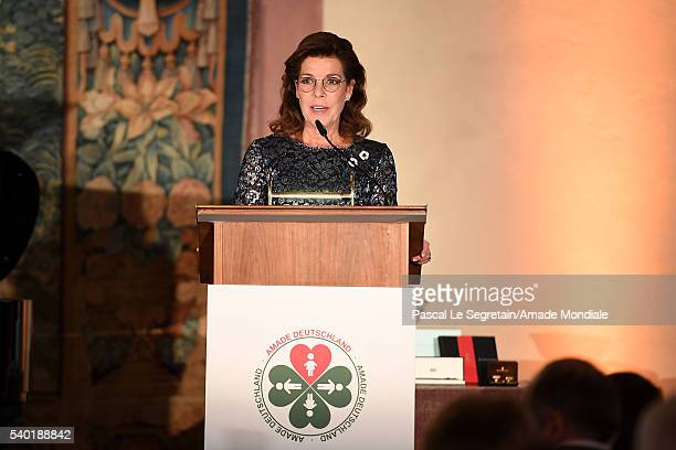 Princess Caroline of Hanover delivers a speech during the AMADE Deutschland Charity dinner on June 14 2016 in Munich Germany