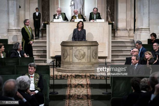 Princess Caroline of Hanover delivers a speech during the induction ceremony of Czech former dancer and choreographer Jiri Kylian at the Academy of...