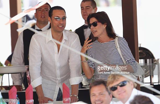 Princess Caroline of Hanover discusses with guest during the 15th Monte Carlo International Jumping on June 24 2010 in MonteCarlo Monaco