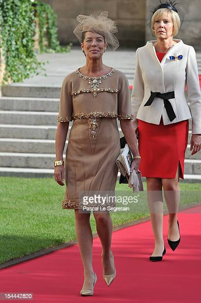 Princess Caroline of Hanover emerges from the Cathedral following the wedding ceremony of Prince Guillaume Of Luxembourg and Princess Stephanie of...