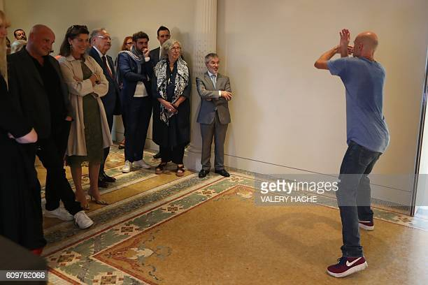 Princess Caroline of Hanover flanked by French choreographer JeanChristophe Maillot and museum director MarieClaude Beaud visits the 'Danse Danse...