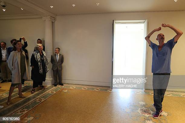 Princess Caroline of Hanover flanked by museum director MarieClaude Beaud visits the 'Danse Danse Danse' exhibition at the 'New National Museum of...