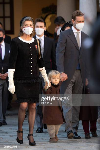 Princess Caroline of Hanover, Francesco Casiraghi and Pierre Casiraghi attend the Monaco National day celebrations in the courtyard of the Monaco...