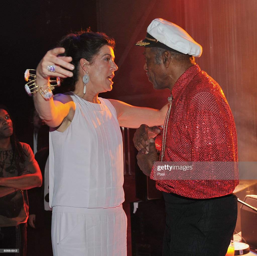 Princess Caroline of Hanover greets singer Chuck Berry during the 2009 Monte Carlo Rock' N Rose Ball held at The Sporting Monte Carlo on March 28, 2009 in Monte Carlo, Monaco.