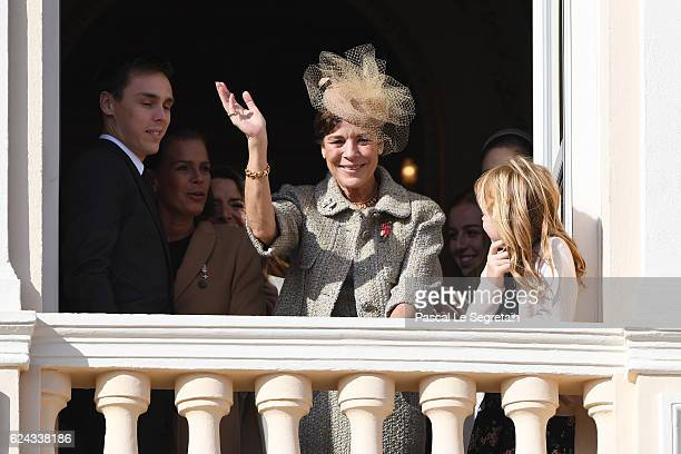 Princess Caroline of Hanover greets the crowd from the palace's balconyduring the Monaco National Day Celebrations on November 19 2016 in Monaco...